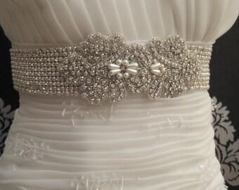 Bridal 10 Row Crystal Pearl Beaded  Belts Luxury Wedding Sash Belt