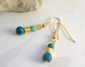Lucky Turquoise Earrings -Hypoallergenic, Nickel-Free Gold French Hooks -Handmade, Healing Gemstones, Metaphysical Jewelry, Free US Shipping