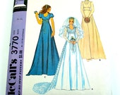 70s Vintage Wedding Dress Pattern Bridesmaid Bridal Gown Formal Prom Teens Teenagers Women Sewing McCalls 3770 Size 7 Bust 31 Uncut