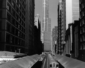 Chicago, Wabash L Train and Trump Tower: Black and White Photo