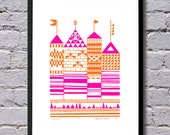 Tiny Towers print (orange and hot pink) - UNFRAMED for worldwide delivery