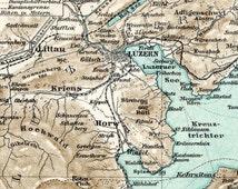 1894 German Vintage Map of Lake Lucerne, Switzerland