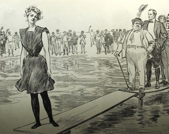 Gibson Girl - No Privacy for the Honeymooners- Humorous 1907 Antique Charles Dana Gibson Print
