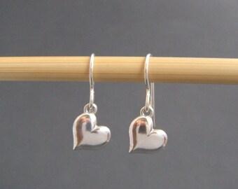 """small heart earrings. tiny sterling silver dangles. silver heart earrings. everyday jewelry. sterling drop earrings. simple 3/8"""" heart 10 mm"""