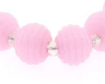 lampwork beads - Handmade Lampwork Beads in Soft Pink ribbed rounds, Made to Order, Bims Bangles, pink lampwork
