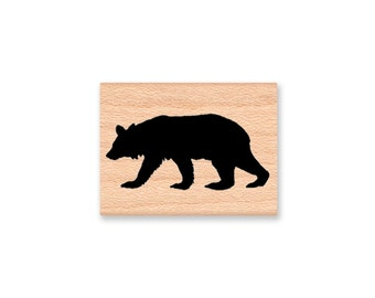 BLACK BEAR Silhouette- solid black bear silhouette image- wood mounted rubber stamp(MCRS 20-16)