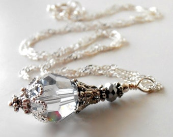 Ice Blue Wedding Jewelry Swarovski Elements Crystal Pendant Necklace in Plated or Sterling Silver Pale Blue Bridesmaid Jewelry Sets Gift