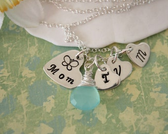 Mom Necklace Personalized, Birthstone Charm, Sterling Silver, 3 Initial Charm