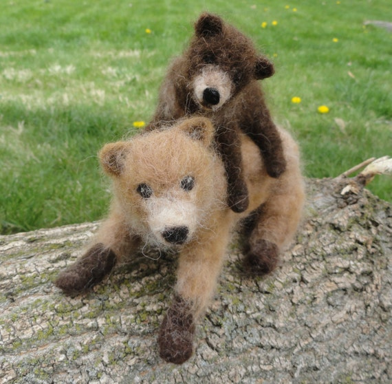 Needle Felted Grizzly Bear Mom and Cub, Brown