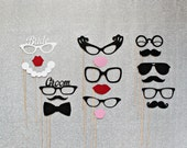 Wedding Photo Booth Props. Groom and Bride  Wedding Party Photo Booth Prop Set. Photo Booth Props. Little Retreats Set of 18.