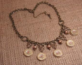Bullet Jewelry - Shotgun Casing Jewelry - Country or Rustic Wedding - 20 Gauge Shotgun Casing Brass Bib Style Necklace - Bridal Jewelry