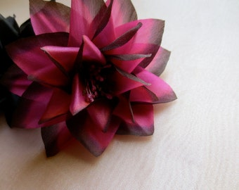 SALE Brown Fuchsia Dahlia Silk Millinery Flower in Chocolate & Raspberries for Bridal, Hats, Corsages, Wrists, Bouquets MF 71