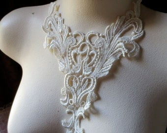 Ivory Lace Applique for Garments, Bridal, Costume Design IA 222
