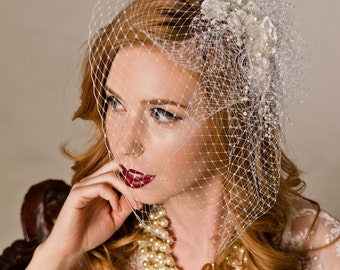 Birdcage Wedding Veil With Flower And Pearl Spray Headpiece