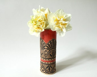 Handmade Moroccan Lace Vase in Paprika, 7""