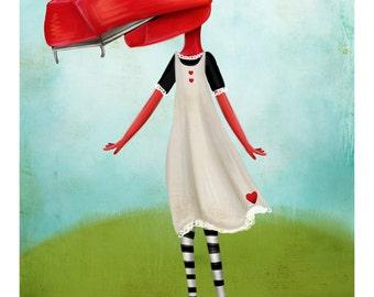 5x7 Fine Art Print - 'Staplegator' - Little Staple girl with overbite - Staple independent media expo inspired artwork