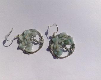 amazonite tree of life earrings