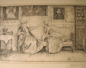 E.A. Abbey -  The Stoops to Conquer - Illustration Original Etching - Limited Edition 1886 by Harper