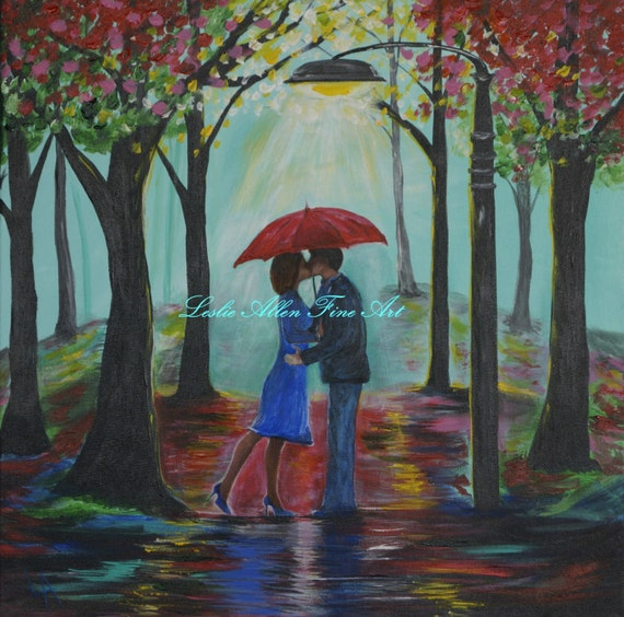 couple in love couples painting canvas kissing raining rain