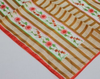 80's Vintage Vera Neumann Scarf / Polyester / Long Rectangle / Stripe and Floral Design / 44 inches Long