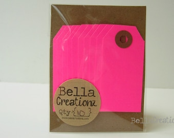10 Neon Pink Gift Tags - Parcel Tags
