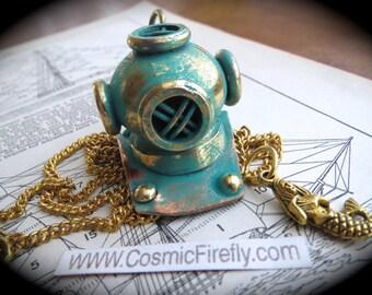 Steampunk Necklace Nautical Diving Helmet & Mermaid Verdigris Turquiose Green Accent