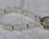 fatdog Bracelet - B1072 Moonstone Gemstones and Sterling Silver Bali Beads with a Sterling Silver and Moonstone Box Clasp Single Strand