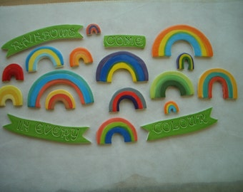 B19 - RAINBOWS Come In EVERY Color -  Ceramic Mosaic Tiles Set
