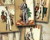 STYLISH MEN - Digital Collage Sheet Vintage Gift Tags for Men Printable Download paper craft scrapbook