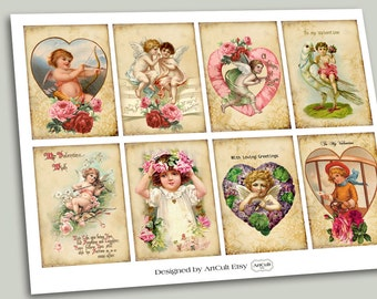 VINTAGE VALENTINE Digital Collage Sheet Printable download Gift Tags Greeting Cards ephemera paper scrapbook ArtCult