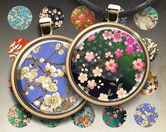 1 inch (25mm) and 1.5 inch round images WASHI YUZEN CIRCLES Japanese Paper Digital Collage Sheet for pendants magnets bottle caps bezel cabs