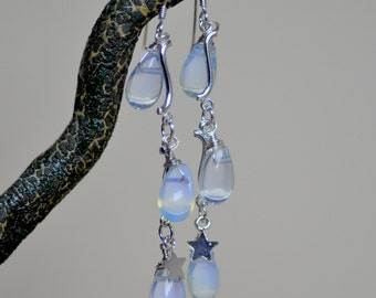 Opalite Teardrop Earrings. RAINDROPS Sterling Silver Earrings.  Bridal Earrings. Wedding Jewelry