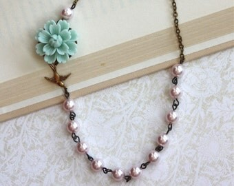 Wedding Necklace Mint Swallow Bird Necklace Light Pink Pearl Necklace Wedding Gift Bridesmaids Gift Mint Pink Wedding Vintage Rustic Wedding