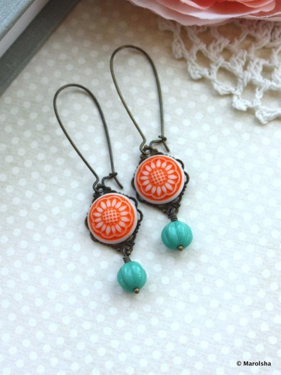 Orange Star Sunflower Earrings, Vintage Glass Cab, Turquoise Green Melon Antiqued Brass Dangle Earrings, Summer Sunflowers. Orange Wedding