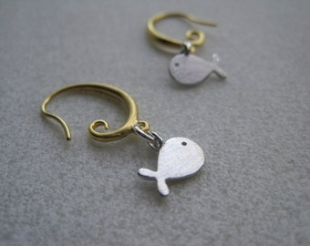 Whale Earrings -  Silver Whale Earrings - Summer Earrings