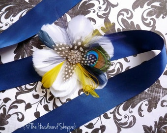 Navy Blue and Yellow Peacock Feather Bridal Sash - COLWELL- Bridal or Bridesmaids Sash - Made to Order