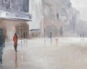 gentle rain: giclee art print of a street scene in the rain