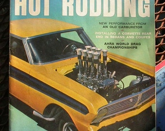 Popular Hot Rodding, October 1966, vintage car magazine, dragsters, hot rods, gas station man cave, race cars, rat rod