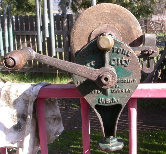 Vintage Bench Grinder Keystone Grinder Iron City Hand