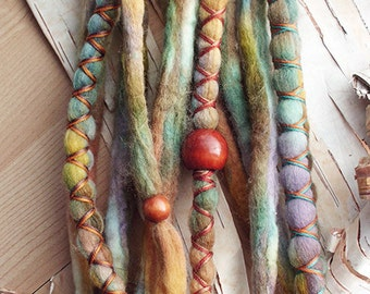 10 Lucky Clover Tie-Dye Wool Synthetic Dreadlock *Clip-in Extensions Boho Dreads Hair Wraps & Beads Custom