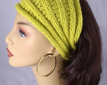 Dread Wrap Headwrap Ready to Ship Citron Knit Wool Ribbed Headband  Ear Warmer