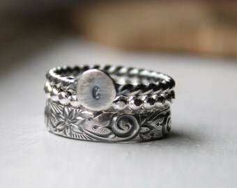 Sterling Silver Stacking Rings with Initial Ring - Made to Order
