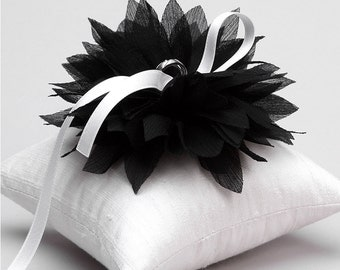 Black and white ring holder, flower ring pillow, ring bearer pillow - Lydia
