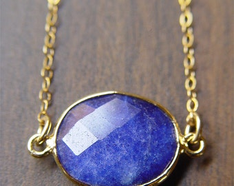 SALE Blue Lapis Necklace - 14k Gold