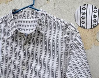 Kitty Paws Mens Shirt, Custom Digital Printed Poplin Shirt, Gift For Him