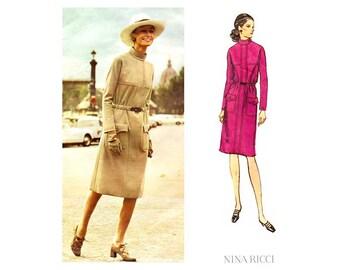 Nina Ricci Vogue Paris Original 2508, Womens Dress Pattern, Straight Skirt, Pockets, Bust 38, 70s Couture Vintage Sewing
