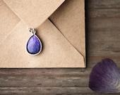 Purple tear drop necklace - Ranunculus petals - Bloom collection by BeautySpot (N096)