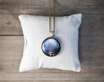 Navy Blue Planet necklace - Pluto necklace - Space  jewelry - Solar system jewelry (N091)