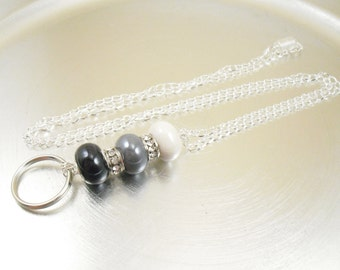 Chain Lanyard - Black, Grey and White with Crystal Large Hole European Style Beaded Oval Link Chain ID Lanyard, Badge Holder