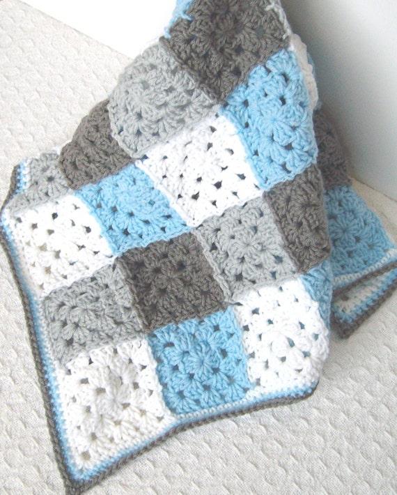 Granny square baby blanket blue gray nursery bedding blue baby boy